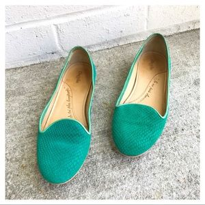 Anthro Chatelles Paris Suede Snakeskin Loafers